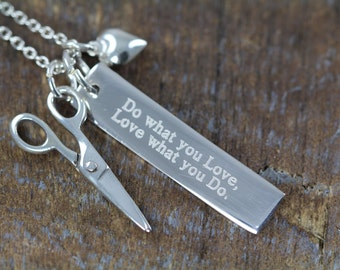 Gift Hair Stylist Hairstylist Jewelry Engraved Scissor Necklace, Scissors, Do What You Love What You Do, Sew, Sewing