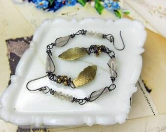 25 DOLLAR SALE Rustic Beaded Earrings - Long Earrings - Rose Quartz, Vintage Metal Leaves, Steel Wire - Stacked Pink Stones, Crystal Drops