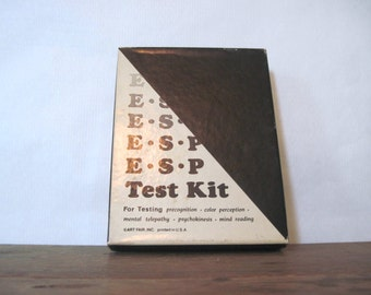1966 ESP TEST KIT for testing precognition, color perception, mental telepathy, psychokinesis, mind reading - vintage New Age occult game