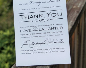 Instant Download Classic Wedding Thank you sign - Keepsake thank you wedding sign - Printable