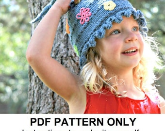 Hat Knitting Pattern - Pixie Hat Pattern - the JANIS Hat (Newborn, Baby, Toddler, Child & Adult sizes incl'd)