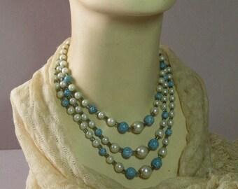 Vintage Bronze & Aqua Necklace