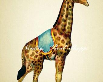 Vintage giraffe circus reproduction print 5x7 print Home Decor print Circus Nursery Decor Wall art Circus Poster Circus Giraffe