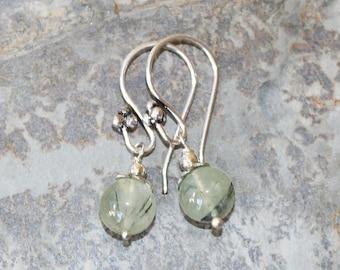Prehnite Earrings, Natural Stone Earrings, Light Green Earrings, SIlver Earrings, Handmade Earrings Gemstone Earrings, Everyday Earrings