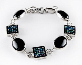 Opal Mosaic Sterling Silver Bracelet