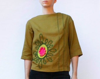 Vintage 60s's blouse, greenish brown, abstract appliques, pom-pom's, zips up the back - Small / Medium