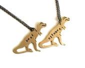 best bitches necklace set . T-REX necklace set . tyrranosaurus personalized custom jewelry bff necklace TREX . best friend gift