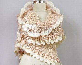 Wedding Bridal Shawl, Ivory Pink Shawl, Wedding Wrap, Evening Shawl, Bridal Shrug Bolero, Romantic Gift, Wedding Cover Up, Crochet Shawl