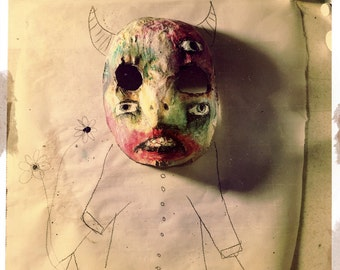 Abstract Mask Class Tutorial - how to make step by step, Creepy Cute Halloween Mask. Gothic, DIY Crude Art, outsider art, art brut, raw art