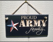 Carved Army Signs, Military Sign, Routed Army Sign, Proud Army family, family sign, American flag, carved sign, made in usa