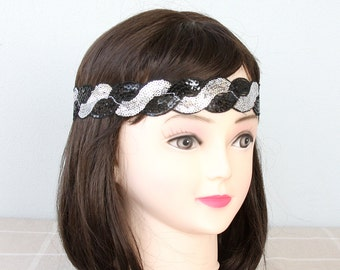Sequin headband black and silver headband boho headband adult headband woman headbands for women sparkly headband hippie headband