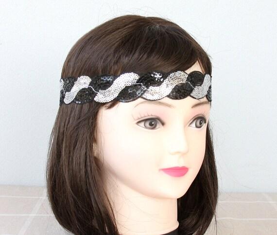 Sequin headband black and silver headband boho headband adult headband woman headbands for women sparkly headband hippie headband