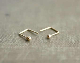 14kt Gold Ball Studs with Unique Tail - Square