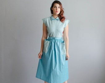 Vintage 1950s Blue Dress - 50s Dress - Funhouse Dress