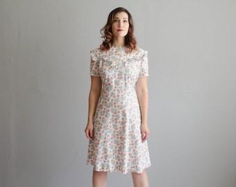 40s Dress - Vintage 1940s Floral Dress - Bleubell Dress