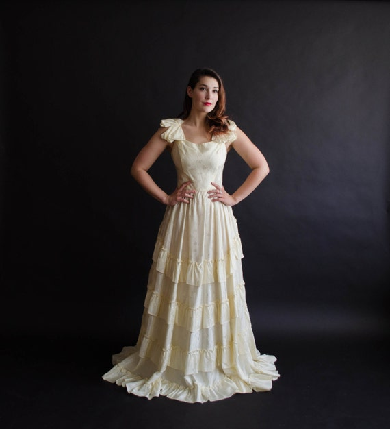 Sale vintage 1970s wedding dress 70s does 40s by for 1970s wedding dresses for sale