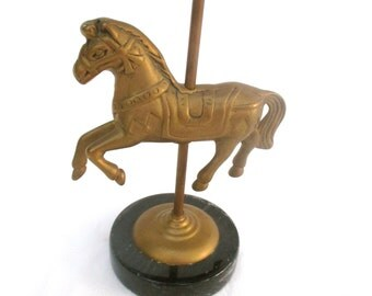 Vintage Bronze Horse Carousel Horse Merry Go Round Horse Paperweight with Marble Base Desk Kids Room Nursery Decoration Figurine