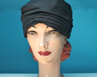 vintage 1960s turban hat - GYPSY NIGHT 60s black hat
