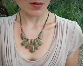 Unakite Statement Necklace, moss green and peach fan necklace, chunky Bohemian tribal jewelry with graduated stone beads