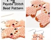 Pig - Seed Bead PATTERN, Peyote Stitch - DIY beaded charm, earrings, pendants - Animal Bead Patterns