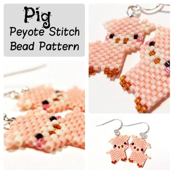 Pig Seed Bead Pattern Peyote Brick Stitch Diy Beaded