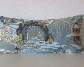 Neo Toile Cove asian toile decorative pillow cover blu green gray