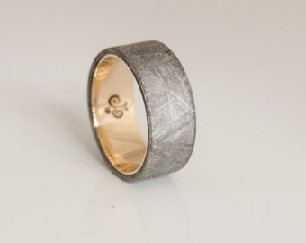 meteorite ring flat band wedding ring yellow gold gebeon ring
