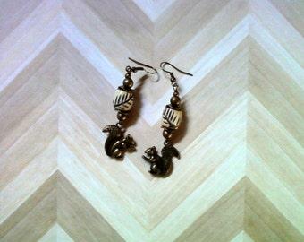 Brass and Bone Squirrel Earrings (2197)