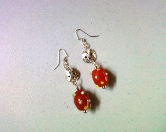 Red Polka Dot Button Earrings (1347)