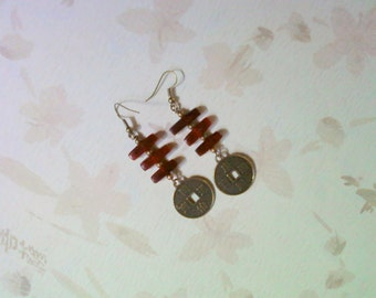 Red and Brass Oriental Inspired Earrings (2204)