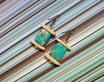 Turquoise and Beige Sea Sediment Earrings (2257)