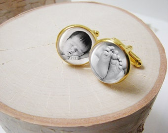 Gold Photo Cufflinks  -  Custom gold plated cuff links for Proud Papa Daddy or Grandpa Fathers Day with Your Baby or Child Pictures