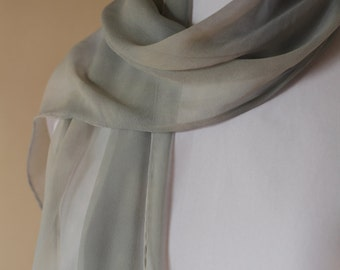 Green Cloudy teal and brown 100% silk chiffon scarf no fringe plain work office