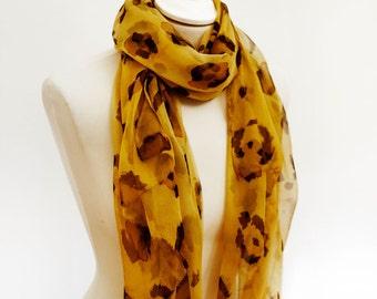 Leopard scarf - animal print scarf - chiffon scarf