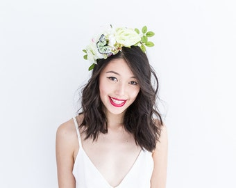 light green white peony butterfly statement headpiece // Yecinia / garden wedding bride, nature headpiece, spring blossoms, natural pastel