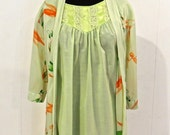 Reserved Violentcello SALE vintage lime lingerie set - 1960s green lacy cotton nightgown & silky robe set