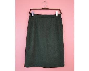 VTG Olive Green Wool/Alpaca Pencil Skirt