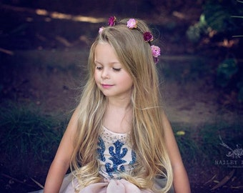 KATNISS Wedding flower crown, Pink Bridal hair accessory, Fairy queen Rose headband, Floral Headpiece Fairy Crown Halo Floral Crown