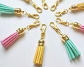 suede tassel zipper charm -- CHOOSE YOUR COLOR!