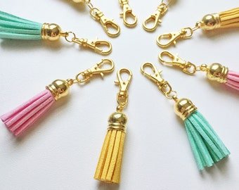 suede tassel zipper charm -- CHOOSE YOUR COLOR!