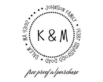 """Monogram Custom Family Return Address Stamp with Two Initial. Mounted with Handle or Self-Inking Return Address Stamp - (20331) -  2"""" ."""