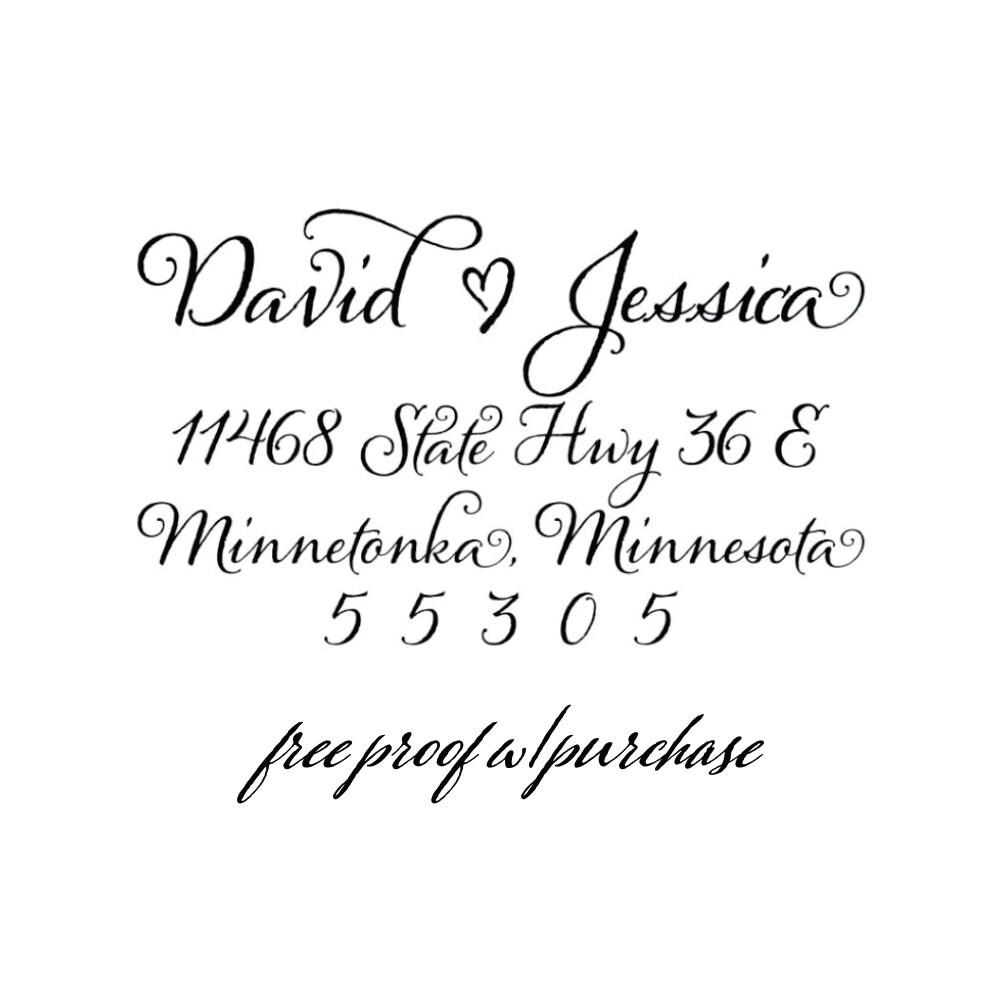 Calligraphy Custom Return Address Stamp Wedding Address