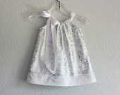Infant Silver and White Party Dress - White Dress and Bloomers Outfit - Baby Girls White Baptism Dress - Size Nb, 3m, 6m, 9m, 12m or 18m