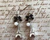 Eiffel Tower Earrings Silver Black Bows Pearls