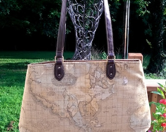World Map Fabric Handbag Purse Carpet Bag Gold Tan Beige Brown