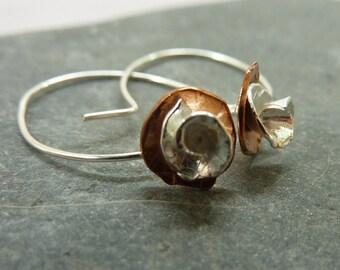 Rose flower drop earrings: Handmade sterling silver and copper