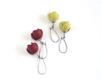 Modern style leather earrings in dark red wine or lemon green