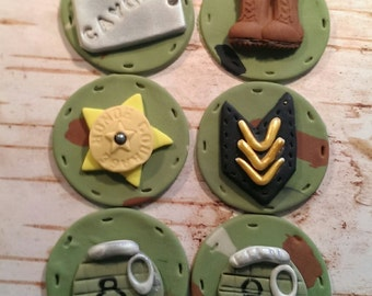 Military Fondant Cupcake,Cake,Cookie Toppers Set of 12 (1 dozen)