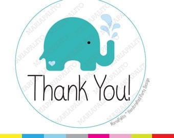 Elephant Thank You Stickers,  Baby shower Stickers, Elephant splash Shower Party. PRINTED round Stickers, tags, Labels A984