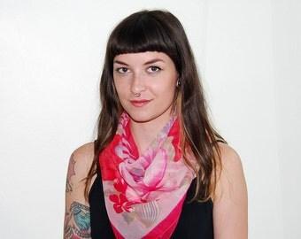 vintage semi sheer pink floral scarf
